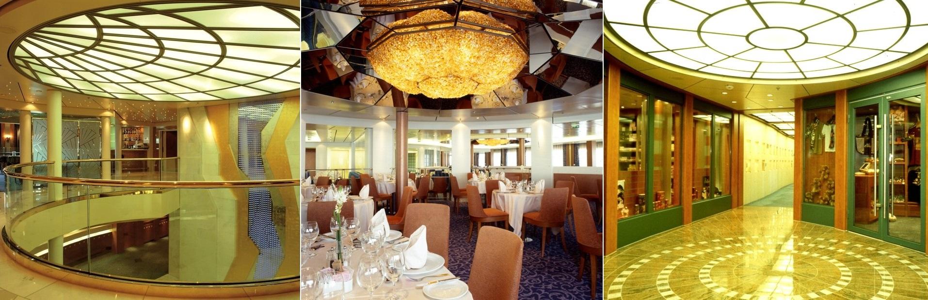 Olympic Voyager Innenansichten, Li. das obere Deck der Lobby, mi. der Hauptspeisesaal, re. die kleine, exklusive Shopping Mall
