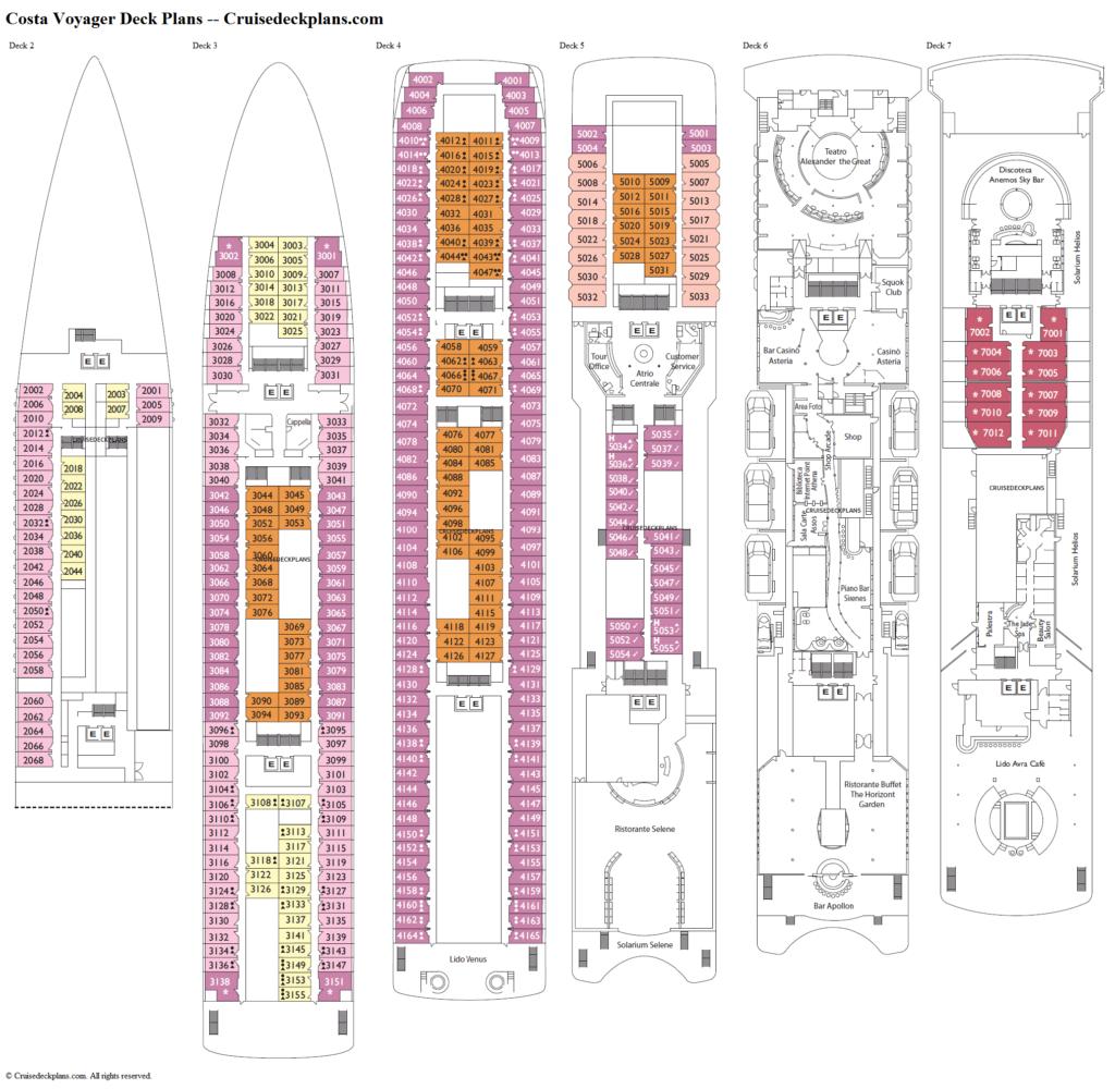 OLYMPIA VOYAGER Deckplan wie er wenig verändert von COSTA gezeigt wurde.