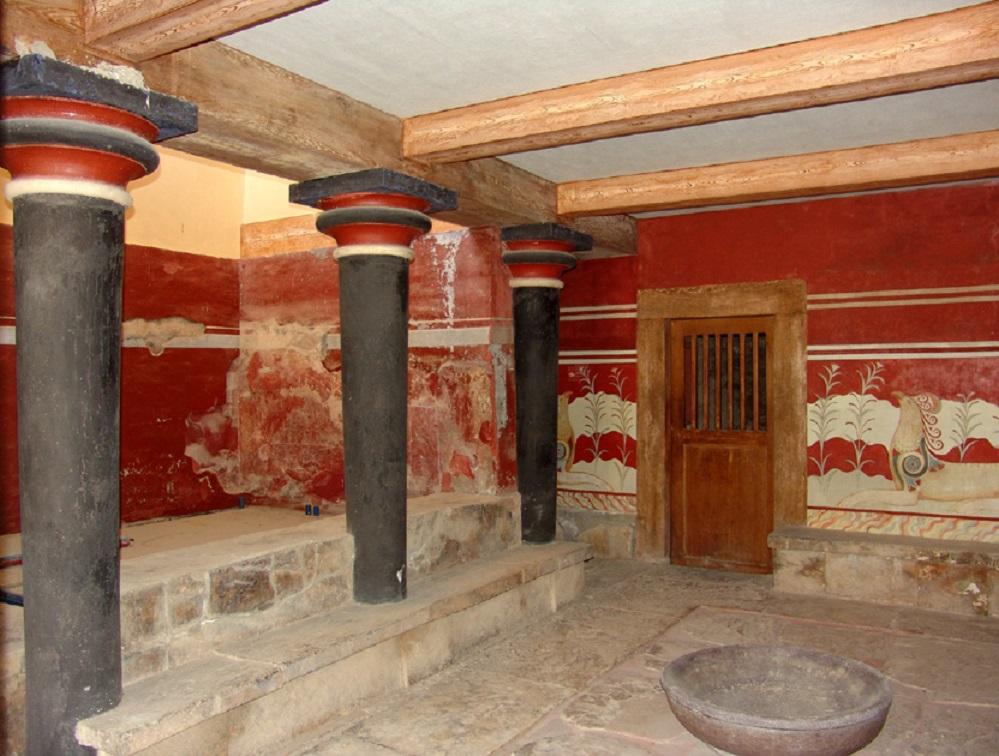 Palast von Knossos, das sogenannte Vorzimmer zum Thronsaal mit dem Lustralbecken
