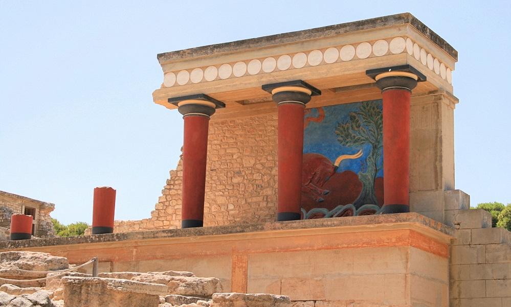 Palast von Knossos, wie er fragwürdig von Arthur Evans rekonstruiert wurde